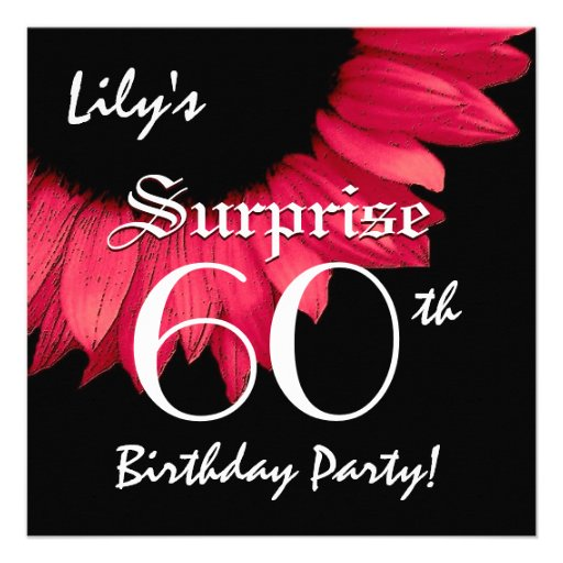 SURPRISE 60th Birthday Party Red Flower W063A Personalized Announcements