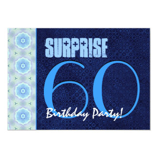 SURPRISE 60th Birthday Party Royal Blue Pattern Card