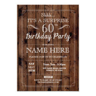 Elegant 60th birthday invitations announcements zazzle surprise 60th birthday party rustic wood 60 invite filmwisefo Choice Image
