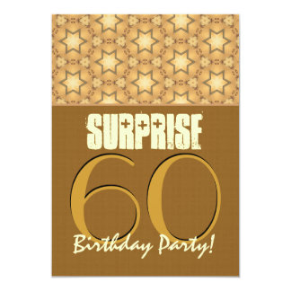 SURPRISE 60th Birthday Party Tan and Gold Template