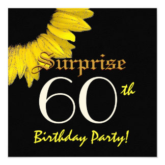 SURPRISE 60th Birthday Party Yellow Sunflower Card