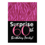 SURPRISE 60th Birthday Pink and Burgundy Zebra Personalized Invitations