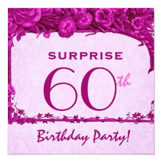 SURPRISE 60th Birthday Pink Floral Vintage H483 Card