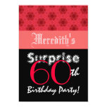 SURPRISE 60th Birthday Red and Black Stars L001 Personalized Announcements