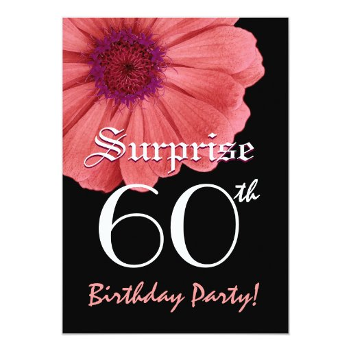 surprise 60th birthday template coral pink daisy card zazzle. Black Bedroom Furniture Sets. Home Design Ideas