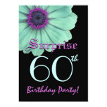SURPRISE 60th Birthday Template Green Purple Daisy Card
