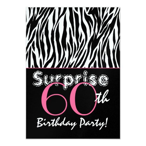 SURPRISE 60th Birthday Zebra Stripes Black White Announcement