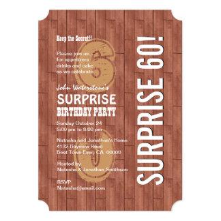 SURPRISE 60th Modern Birthday Reddish Wood A02 Card