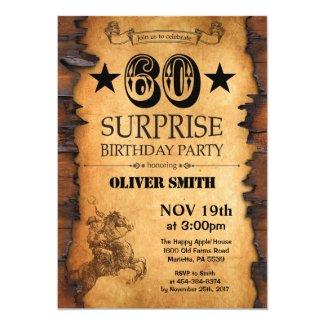 Surprise 60th Western Birthday Invitation