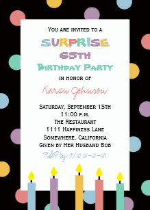 Surprise 65th Birthday Party Pretty Candles Invitation