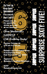 SURPRISE 65th Modern Birthday Gold And Black W199A Invitation