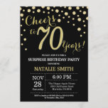 """Surprise 70th Birthday Black and Gold Diamond Invitation<br><div class=""""desc"""">Surprise 70th Birthday Invitation with Black and Gold Glitter Diamond Background. Gold Confetti. Adult Birthday. Male Men or Women Birthday. For further customization,  please click the """"Customize it"""" button and use our design tool to modify this template.</div>"""