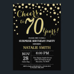 "Surprise 70th Birthday Black and Gold Diamond Invitation<br><div class=""desc"">Surprise 70th Birthday Invitation with Black and Gold Glitter Diamond Background. Gold Confetti. Adult Birthday. Male Men or Women Birthday. For further customization,  please click the ""Customize it"" button and use our design tool to modify this template.</div>"
