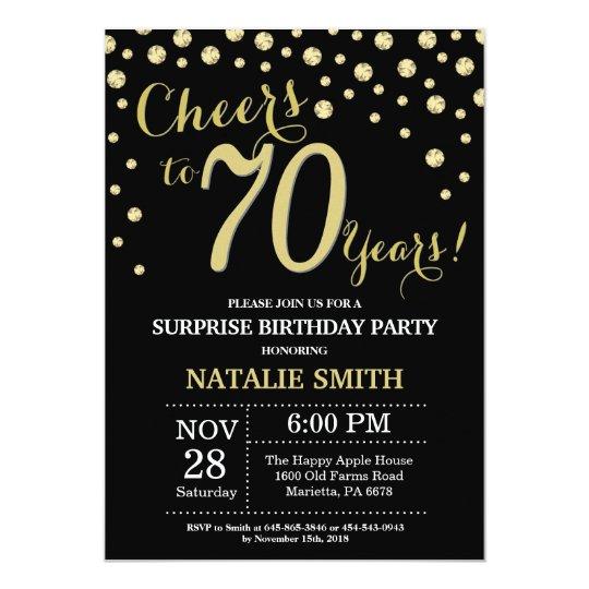 Surprise 70th Birthday Black And Gold Diamond Invitation Zazzle
