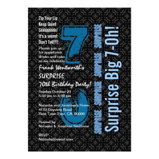 SURPRISE 70th Birthday Black and White Blue W1755 Personalized Invitation