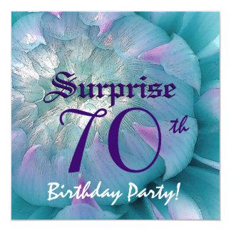 SURPRISE 70th Birthday Blue and Purple Dahlia W077 Card