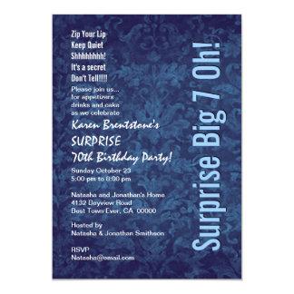 SURPRISE 70th Birthday Blue Damask White W1467 Card
