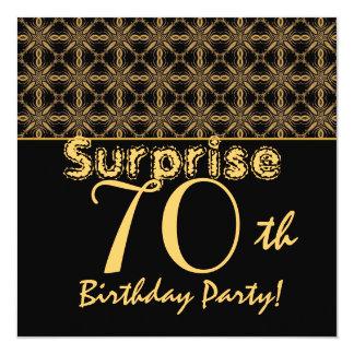 SURPRISE 70th Birthday Gold and Black Vintage Custom Invitations
