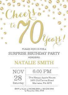 Surprise 70th Birthday Gold Glitter Diamond Invitation