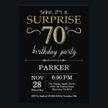 """Surprise 70th Birthday Invitation Black and Gold<br><div class=""""desc"""">Surprise 70th Birthday Invitation with Black and Gold Glitter Background. Chalkboard. Adult Birthday. Men or Women Bday Invite. Any age. For further customization,  please click the """"Customize it"""" button and use our design tool to modify this template.</div>"""