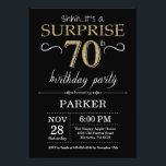 "Surprise 70th Birthday Invitation Black and Gold<br><div class=""desc"">Surprise 70th Birthday Invitation with Black and Gold Glitter Background. Chalkboard. Adult Birthday. Men or Women Bday Invite. Any age. For further customization,  please click the ""Customize it"" button and use our design tool to modify this template.</div>"