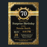 """Surprise 70th Birthday Invitation Black and Gold<br><div class=""""desc"""">Surprise 70th Birthday Invitation with Black and Gold Glitter Background. Adult Birthday. Male Men or Women Birthday. Kids Boy or Girl Lady Teen Teenage Bday Invite. 13th 15th 16th 18th 20th 21st 30th 40th 50th 60th 70th 80th 90th 100th. Any Age. For further customization, please click the """"Customize it"""" button...</div>"""