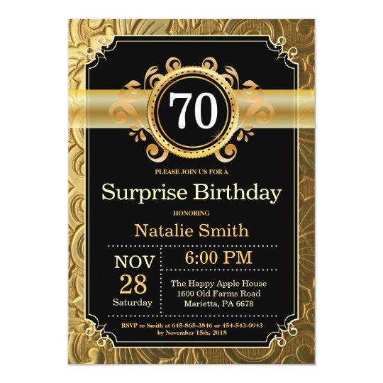 surprise 70th birthday invitation black and gold zazzle com