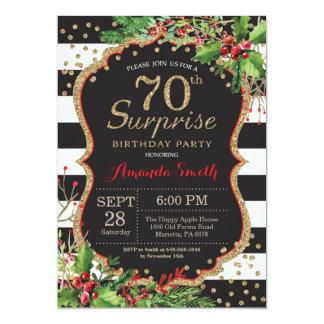 Surprise 70th Birthday Invitation Christmas Gold