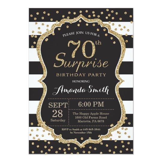 Surprise 70th birthday invitation gold glitter card zazzle surprise 70th birthday invitation gold glitter card filmwisefo