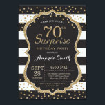 """Surprise 70th Birthday Invitation. Gold Glitter Invitation<br><div class=""""desc"""">Surprise 70th Birthday Invitation for women or man. Black and Gold Birthday Party Invite. Gold Glitter Confetti. Black and White Stripes. Printable Digital. For further customization,  please click the &quot;Customize it&quot; button and use our design tool to modify this template.</div>"""