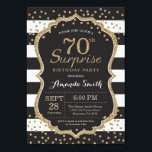 "Surprise 70th Birthday Invitation. Gold Glitter Invitation<br><div class=""desc"">Surprise 70th Birthday Invitation for women or man. Black and Gold Birthday Party Invite. Gold Glitter Confetti. Black and White Stripes. Printable Digital. For further customization,  please click the ""Customize it"" button and use our design tool to modify this template.</div>"