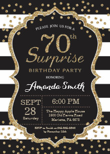 Surprise 70th Birthday Invitation Gold Glitter