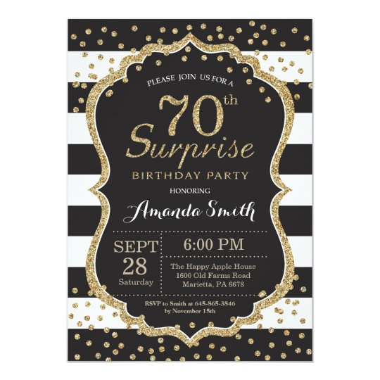 Surprise 70th Birthday Invitation Gold Glitter Invitation Zazzle Com