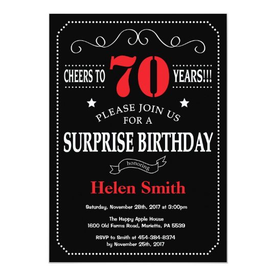 Surprise 70th Birthday Invitation Red And Black Zazzle Com