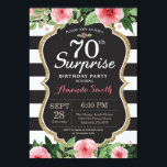 """Surprise 70th Birthday Invitation Women Floral<br><div class=""""desc"""">Surprise 70th Birthday Invitation for women. Black and Gold Birthday Party Invite. Gold Glitter. Pink Watercolor Floral Flower. Black and White Stripes. Chalkboard. Printable Digital. For further customization,  please click the """"Customize it"""" button and use our design tool to modify this template.</div>"""