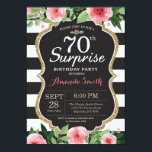 "Surprise 70th Birthday Invitation Women Floral<br><div class=""desc"">Surprise 70th Birthday Invitation for women. Black and Gold Birthday Party Invite. Gold Glitter. Pink Watercolor Floral Flower. Black and White Stripes. Chalkboard. Printable Digital. For further customization,  please click the ""Customize it"" button and use our design tool to modify this template.</div>"