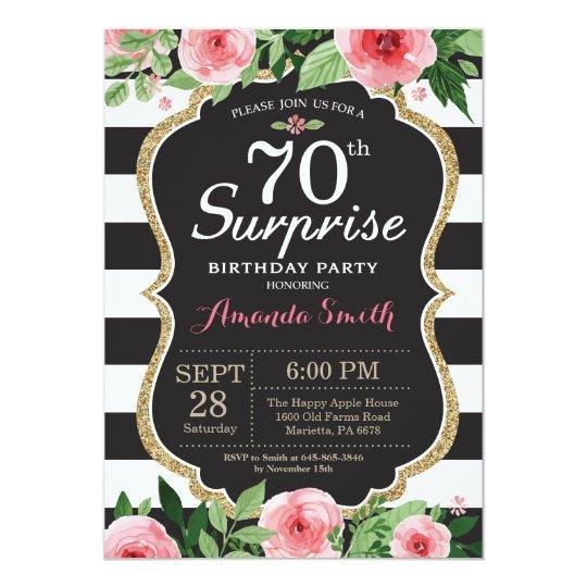 surprise 70th birthday invitation women floral zazzle com