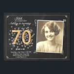 """Surprise 70th birthday invite Chalkboard vintage<br><div class=""""desc"""">♥ A perfect way to invite your guests to this special birthday party! For a 70th birthday party. Check out the collection for other ages!</div>"""
