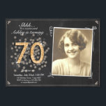 "Surprise 70th birthday invite Chalkboard vintage<br><div class=""desc"">♥ A perfect way to invite your guests to this special birthday party! For a 70th birthday party. Check out the collection for other ages!</div>"