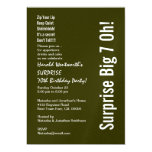 SURPRISE 70th Birthday Modern Forest Green White 5x7 Paper Invitation Card