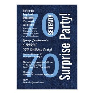 "SURPRISE 70th Birthday Modern Royal Blue R604 5"" X 7"" Invitation Card"