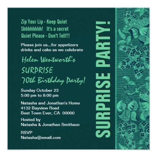 SURPRISE 70th Birthday Modern Teal Forest Green Announcement