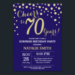"""Surprise 70th Birthday Navy Blue and Gold Diamond Invitation<br><div class=""""desc"""">Surprise 70th Birthday Invitation with Navy Blue and Gold Glitter Diamond Background. Gold Confetti. Adult Birthday. Male Men or Women Birthday. For further customization,  please click the """"Customize it"""" button and use our design tool to modify this template.</div>"""