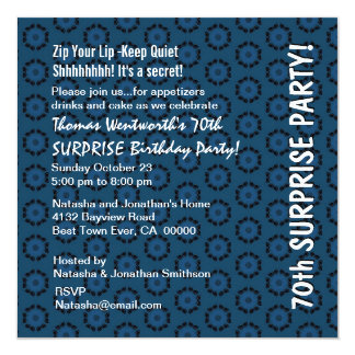 SURPRISE 70th Birthday Navy Blue Retro Pattern Personalized Invitation