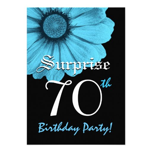 SURPRISE 70th Birthday Party Blue Daisy N220 Invites