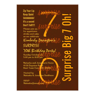 SURPRISE 70th Birthday Party Brown and Gold W1672 Custom Invitation