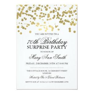 Surprise 70th birthday invitations announcements zazzle surprise 70th birthday party gold foil confetti card stopboris Images
