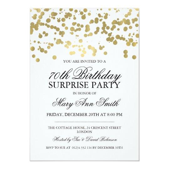 Surprise 70th Birthday Party Gold Foil Confetti Invitation