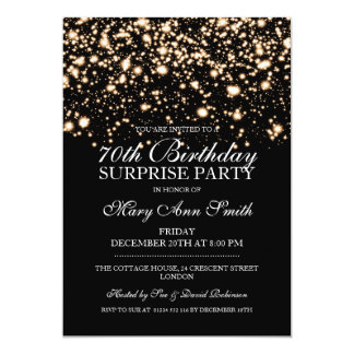 Surprise 70th Birthday Party Gold Midnight Glam Card