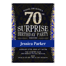 Surprise 70th Birthday Party - Gold Navy Blue Invitation